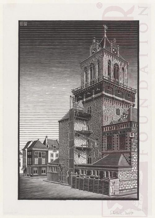 Delft, Stadshuis. Juli 1938, Houtsnede