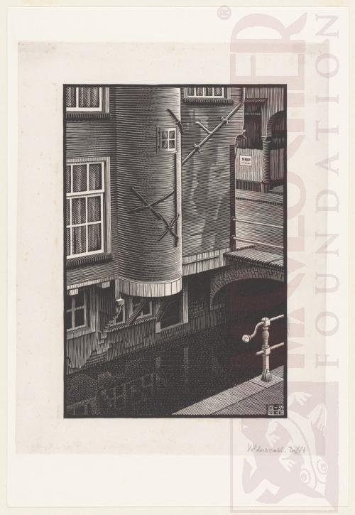 Delft, Voldersgracht (detail). Augustus 1939, Houtsnede