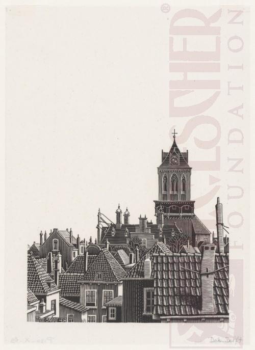 Delft, Daken. Augustus 1939, Houtsnede