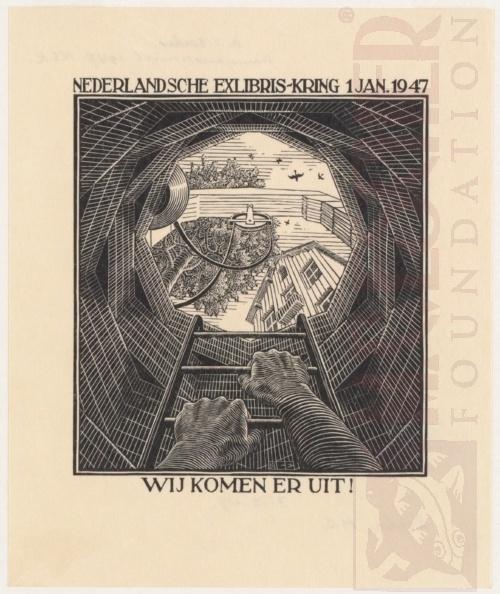 Nieuwjaarskaart 1947, Nederlandse Ex Libris kring, Den Haag. November 1946, Houtsnede