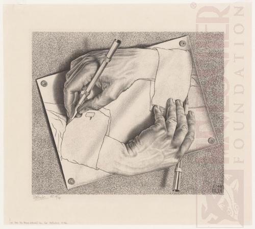 Tekende Handen. Januari 1948, Lithografie