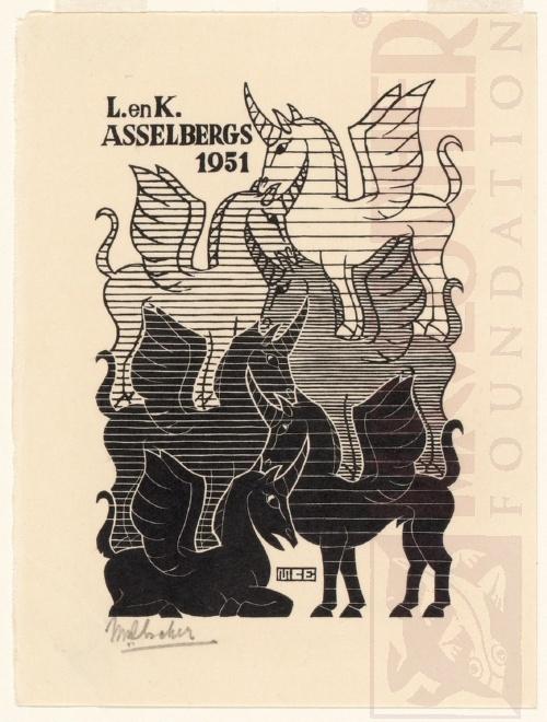 Nieuwjaarskaart, L. en K. Asselbergs. Oktober 1950, Houtsnede