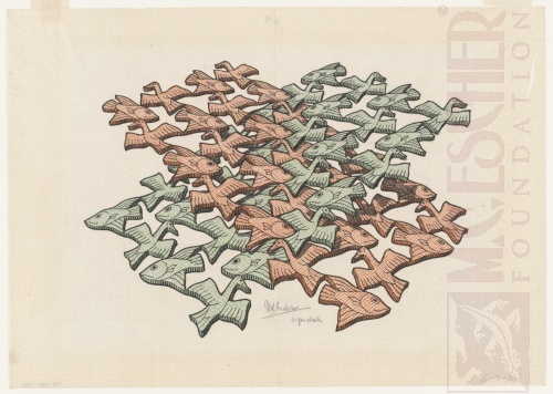 Kruisende vlakken. Januari 1952, Houtsnede van drie blokken