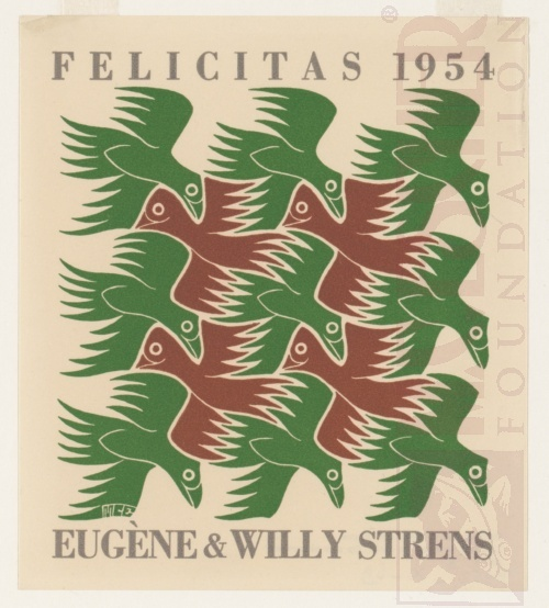 Nieuwjaarskaart, Eugene en Willy Strens 1954. Oktober 1952, Houtsnede van twee blokken