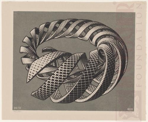 Spiralen. December 1953, Houtgravure van twee blokken