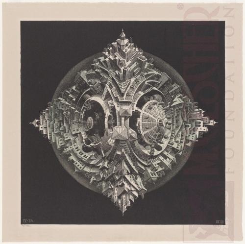 Tetraëdrische planetoïde. April 1954, Houtsnede van twee blokken