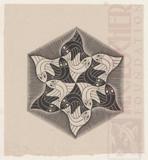 Vis, vignet. 1955, Houtsnede