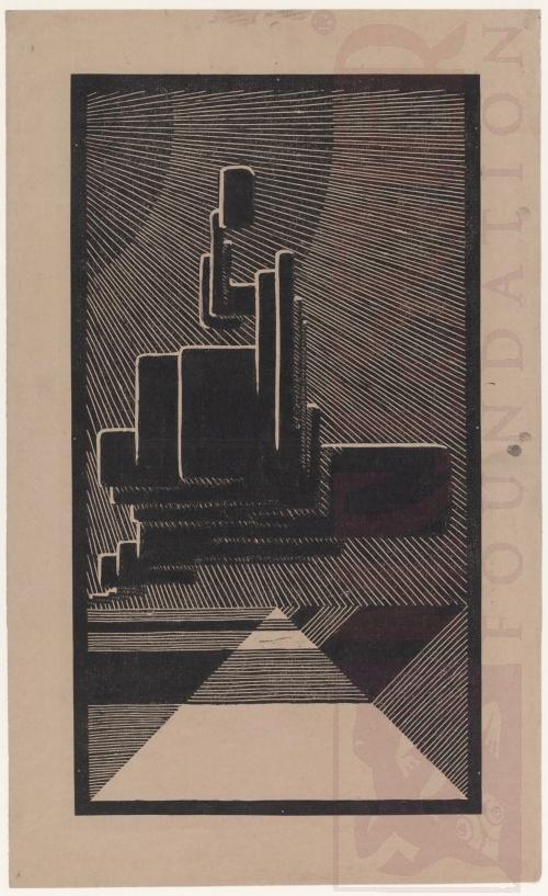 Wolken boven de Kust. 1919 of 1920, Linoleumsnede