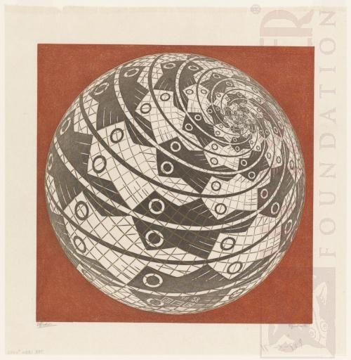 Oppervlak van een bol met Vis. Juli 1958, Houtsnede