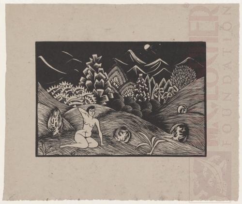 Vrouwelijk naakt in landschap - 1920. Houtsnede. Contradruk. 265mm x 180mm.