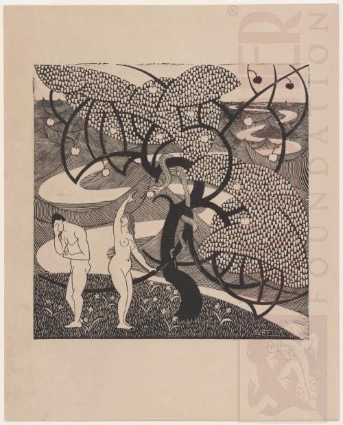 De zondeval - 1920. Houtsnede. Contradruk. 347mm x 347mm.