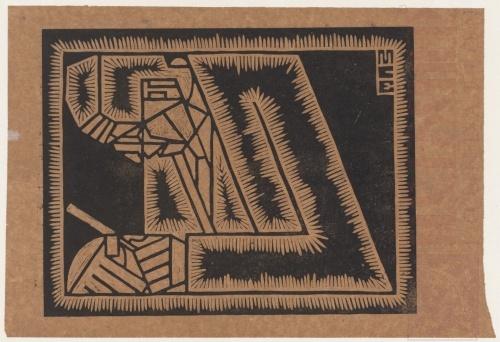 Escher's vader met loep. 1920, Linoleumsnede