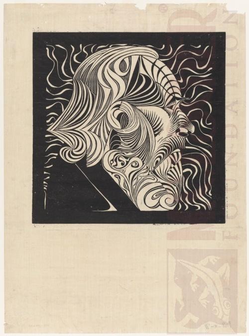 Portret van een man. 1920, Houtsnede