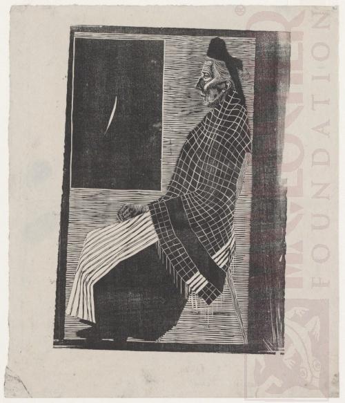 Zittende oude vrouw - 1920. Houtsnede. 180mm x 250mm.