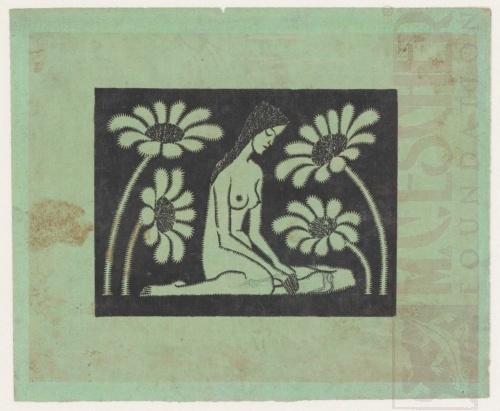 Zittend vrouwelijk naakt met bloemen. 1920 of 1921, Houtsnede
