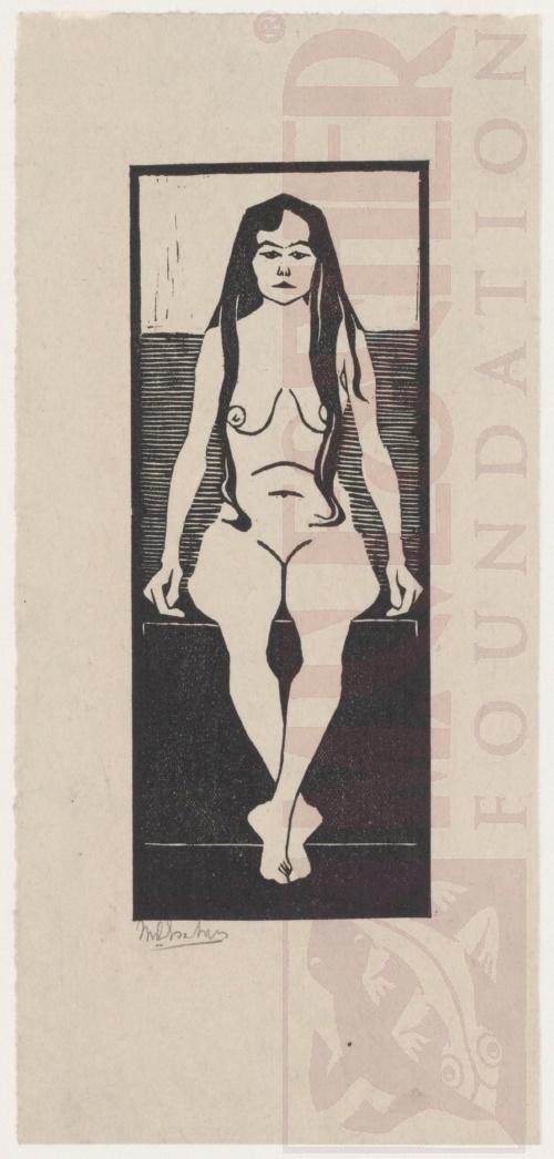 Zittend vrouwelijk naakt - 1920 (of 1921) . Houtsnede. 74mm x 186mm.