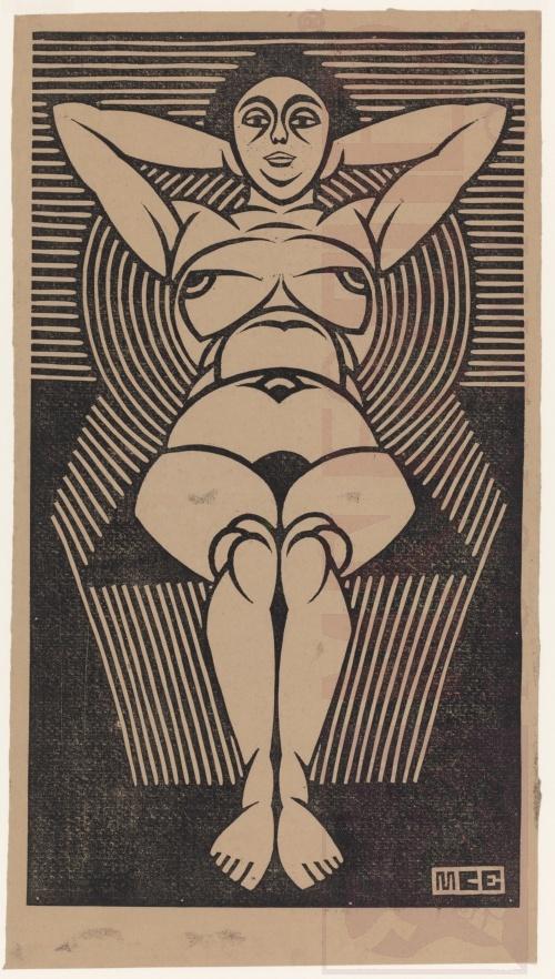 Vrouwelijk naakt in stoel. 1920 of 1921, Linoleumsnede
