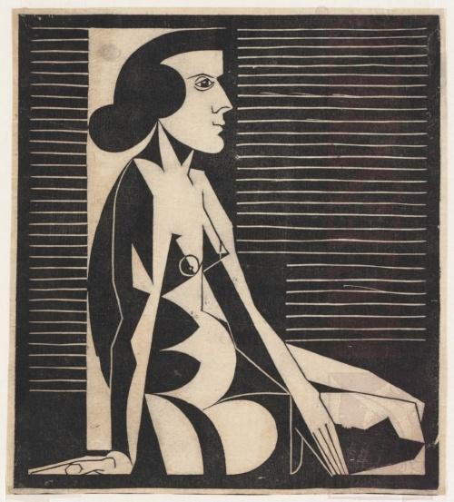 Zittend vrouwelijk naakt - 1920 (of 1921). Houtsnede. 205mm x 228mm.