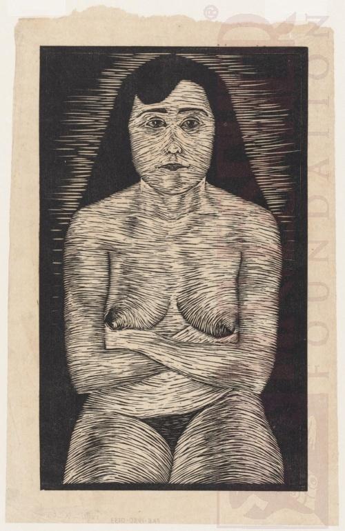 Zittend vrouwelijk naakt - 1920 (of 1921). Houtsnede. 204mm x 340mm.
