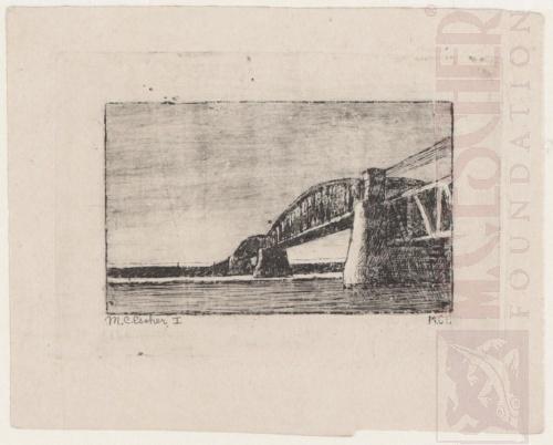 Spoorbrug over de Rijn bij Oosterbeek - 1917. Eerste staat. 123mm x 86mm.