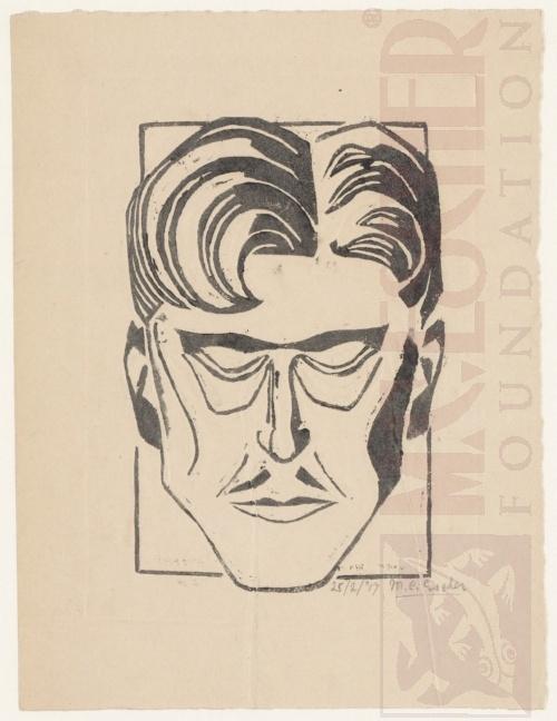 Portret van een man, Linoleumsnede, 1917