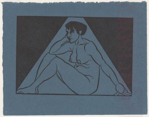 Zittend vrouwelijk naakt. 1921, Houtsnede