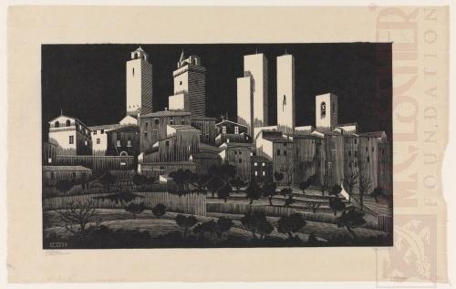 San Gimignano. Januari of februari 1923, Houtsnede